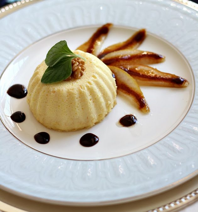 Parmigiano Flan with Caramelized Pears and Balsamic Reduction