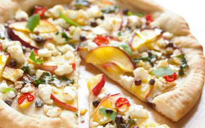 Summertime Pizza with Peach, Feta, Chili Pepper and Balsamic Vinegar