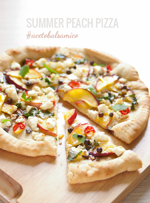 Summertime Pizza with Peach, Feta, Chili Pepper and Balsamic Vinegar