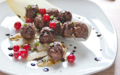 Meatballs with Braised Endive, Redcurrant and Balsamic Vinegar