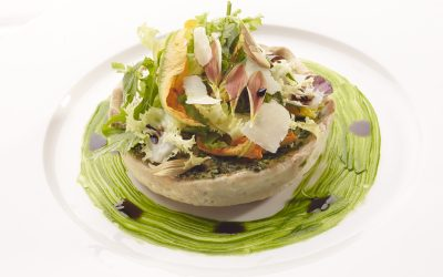 Herbs cake and Parmigiano Reggiano with Salad and Balsamic Vinegar