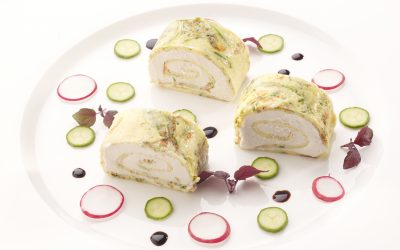 Omelet with Zucchini Flowers, Tuna Mousse and Balsamic Vinegar