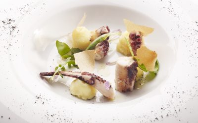 Grilled Octopus , Potatoes with Oil, Crisp with Beer and Balsamic Vinegar
