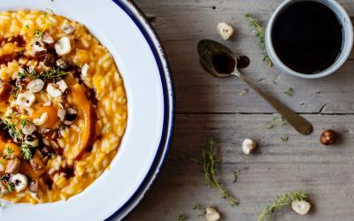Risotto alla Zucca con Aceto Balsamico e Crema di Parmigiano Reggiano