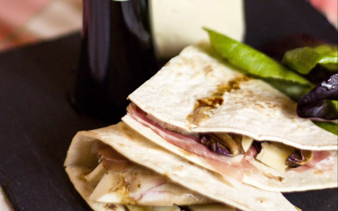 Gourmet Piadina with Red Lettuce, Parmigiano and Parma Ham