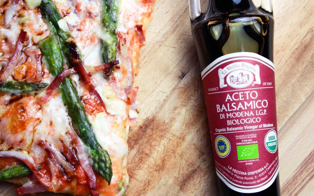 Pizza with Asparagus, Speck and Organic Balsamic Vinegar