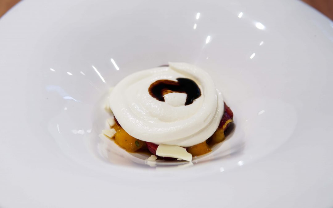 Mascarpone Cream Cheese with Cherries, Strawberries and Traditional Balsamic Vinegar