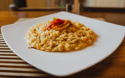 Red Peppers Risotto with Balsamic Vinegar Reduction