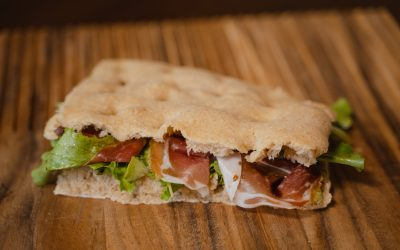 Focaccia with Parma Ham, Parmigiano Reggiano Cream and Organic Balsamic Vinegar